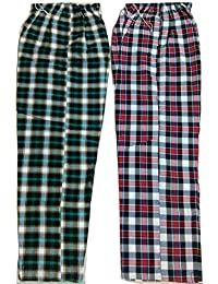 Handloom Cotton Night Pant, Track Pant Comfort at Night and Day Like Pyjama for Men, Women, Cotton Check Design 2 (Two) Pecs Combo Pack.
