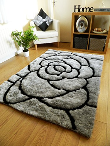 NEW SILVER BLACK LUXURIOUS THICK PILE RUG MODERN SOFT SILKY CONTEMPORARY SHAGGY RUGS MATS UK (150 X 210 CM)
