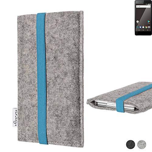 flat.design Handy Hülle Coimbra für Blaupunkt SL 01 - Schutz Case Tasche Filz Made in Germany hellgrau türkis