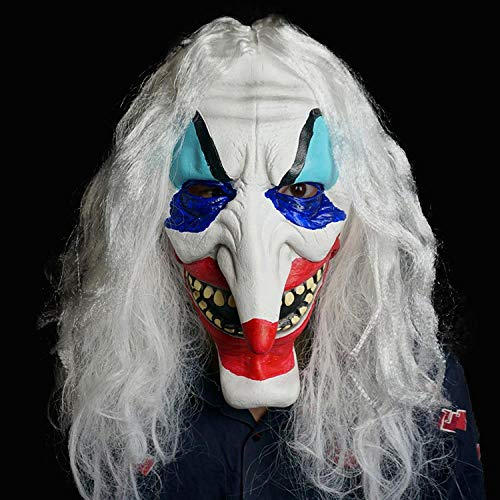 MROSW Weißes Haar Grimasse Halloween Long Nose Clown Show Scary Accessoires Kleidung Latex gemalt