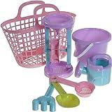 Bieco 06003818 - Sandspielzeug Set im Strandkorb in Mädchenfarben, 7 teilig