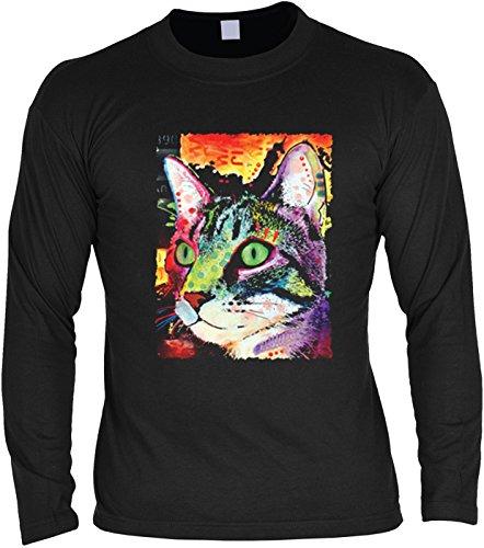 Herren Langarmshirt mit Motiv: Curiosity Cat - Katzenmotiv - Geschenk - Pullover, Pulli - Farbe: schwarz Schwarz