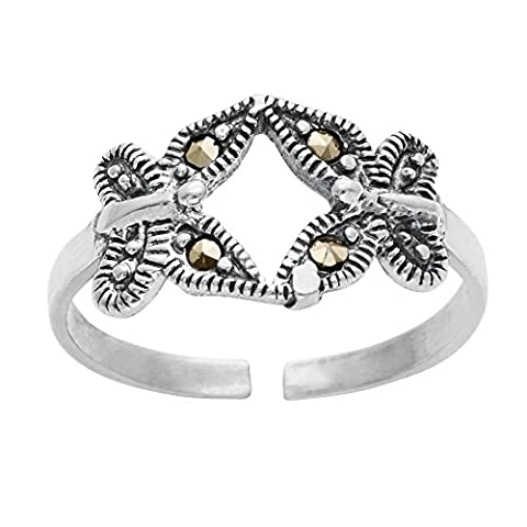 Silverly Women's .925 Sterling Silver Simulated Marcasite 2 Butterfly Midi Toe Adjustable Ring