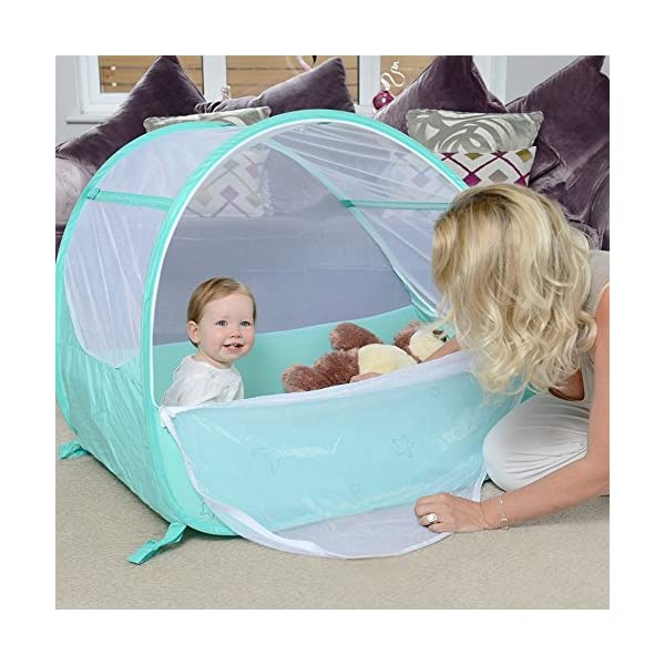 Koo-di Pop Up Travel Bubble Cot Cockatoo with Mattress and Mosquito Net - suitable from 6 to 18mths  A comfortable cot ideal for use at home while baby rests during the day, out and about, on holidays or weekends away Most suitable for use from 6 months to approximately 18 months and when outgrown, makes an ideal playhouse for little ones. Weighs less than 2.2kgs. Quick and easy to use. Measures L100 x W60 x H69cm when assembled 1