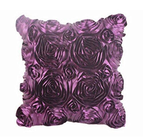 Tonsee Elegante 3D Rose Stickerei Satin Stoff Kissen Fällen Kissen Startseite (lila)
