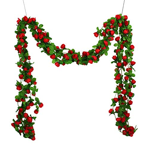 ChanYYw Artificial Fake Flowers Simulated Rose Vine Garland for Indoor Outside Hanging Planter Home Wedding Office Decor Red - Garland Flower Red
