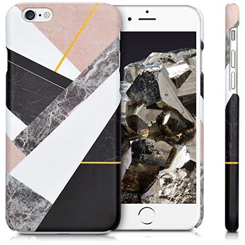 kwmobile Étui rigide Design marbre pour Apple iPhone 6 / 6S en noir blanc noir blanc beige