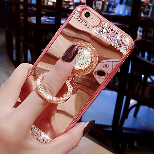 Case iPhone 6 Plus,iPhone 6S Plus Cover,Diamante Bling Glitter Lusso Cristallo Strass Morbida Rubber Full body [Rotazione Grip Ring Kickstand] con Supporto Dellanello Shock-Absorption Bumper e Anti-S Pattern 08