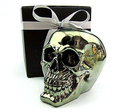 Deko Totenkopf, Toten-Schädel, Skull, originelle Spardose, Metalloptik, im Geschenk-Set, in eleganter schwarzer Geschenk-Box mit Schleifenband, Geschenk für Frauen, Männer, Gothic, Mystik, Fantasy, Dekoration, Party-Geschenk, Halloween, Spardose (kupfer glanz)