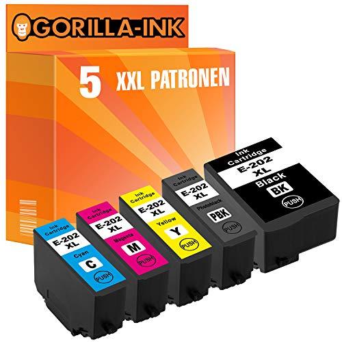 epson nachfuellpatronen Gorilla Ink® 5 Patronen XXL GI202XL kompatibel für Epson Expresion Premium XP6000 XP6005