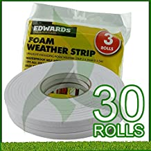Draught Excluding Foam Weather Strips 3 X (9MM X 4.5M) (Pack of 30)
