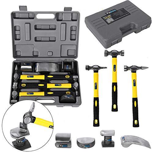 Kit carrozziere/carrozzeria 7 pz composto da 3 martelli in vetroresina con manico in gomma,strumenti riparazione ammaccature carrozzeria estrattore per auto