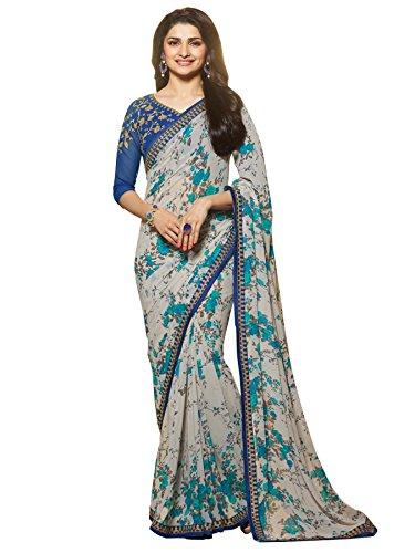 Vivera Women\'s Georgette Saree With Blouse Piece (Taj_11_Blue)