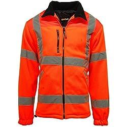 Para hombre Hi Viz Vis alta visibilidad seguridad rayas chaqueta de forro polar de trabajo 100% poliéster, Parka, Hombre, color naranja, tamaño XXX-Large