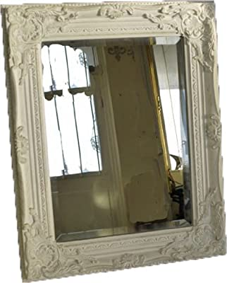 Antique Style Shabby Chic White with Gold Brush Bevelled Glass Wall Mirror by Vintage Collection - low-cost UK light store.