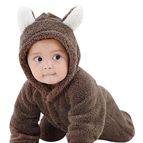 Baby Bär Stil Strampler,Hankyky Baby Mädchen Junge Spielanzug Flanell Baumwolle Winter Overall Tier Kostüme Hooded Bekleidung Outfits 0-12 Monate (Bär Strampler)