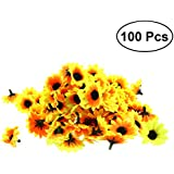 Tinksky 100pcs Lifelike Artificial Sunflower Heads Home Party Decorations