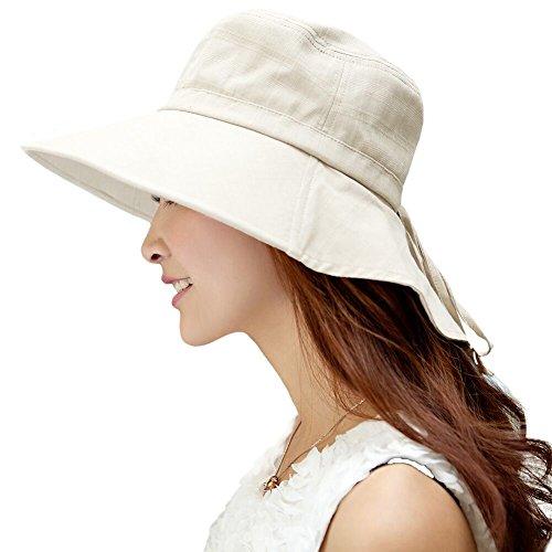 SIGGI Baumwolle beiger Sommerhut UPF 50 + Sun Shade Hut mit Nackenschnur für Frauen breite Krempe