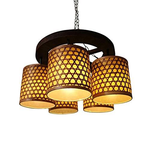 HDDK Vintage Bambus Deckenleuchte Bauernhaus Dekoration Beleuchtung Schaffell Lampenschirm Thornless Leicht zu reinigen Hängende Beleuchtung (5-Kopf E27) -
