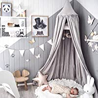 Children Bed Canopy Grey Round Dome, Nursery Room Decorations, Dix-Rainbow Cotton Mosquito Net Bed Canopies Kids Play Tent for Baby, Height 240cm/94.5in