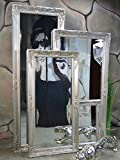 Livitat® Wandspiegel 140 x 50 cm Spiegel Badspiegel barock antik Silber