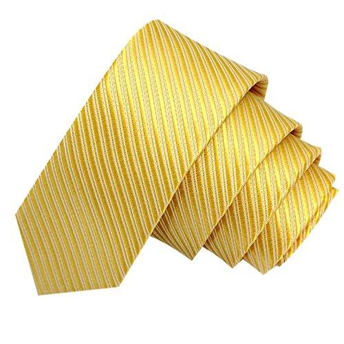 GASSANI Gelbe schmale dünne 5cm Krawatte gestreift   Skinny Herrenkrawatte Gelb zum Sakko Anzug   Schlips Binder einfarbig mit Streifen