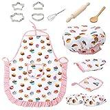 Ensemble de cuisine et de pâtisserie 13 pièces pour enfants avec tablier, gants et couverts pour petites filles