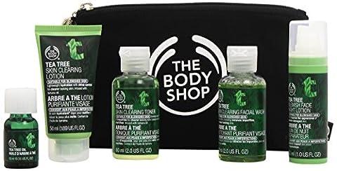 The Body Shop–Tea Tree Set je 1x Gel Nettoyant Visage, tonique nettoyant visage Tea Tree Oil, Lotion nettoyante visage, crème de nuit, buffer, (210ml)