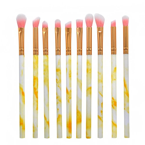 Gespout 10PCS Pinceau de Maquillage Professionnel pour Yeux Jaune Nylon Poignée en Plastique Fond de Teint Poudre Blush Différents Styles