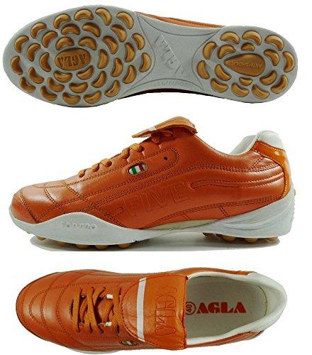 AGLA FIVE OUTDOOR PROFESSIONAL TOP Chaussures de football en cuir avec anti-choc Orange - Orange