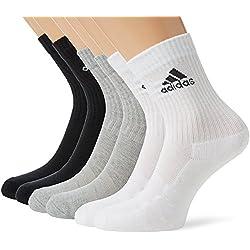 adidas 3S PER CR HC 6P - Calcetines unisex, color negro / gris / blanco, talla 19-22