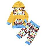 i-uend Baby 2 Stücke Hoodie Hosen Outfits, Kleinkind Baby Jungen Mädchen Langarm Regenbogen Print Hoodie Tops + Hosen Outfits Für 3-24 Monate
