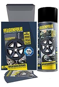 mibenco 61001103 FELGENFOLIE Set, 4 x 400 ml, Schwarz Matt - Original 4er Set - Flüssiggummi / Sprühfolie - Farbe und Schutz zum Felgen lackieren