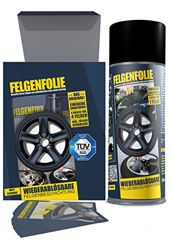 mibenco 61001103 Felgenfolie Set, 4 x 400 ml, Schwarz Matt Test