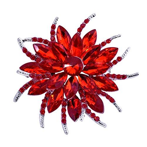 Pin Blume Rote Brosche (ElegantPark BP1705 Kristalle Brosche Pin Damen Mädchen Kristall Blühende Blumen Pins Rot)