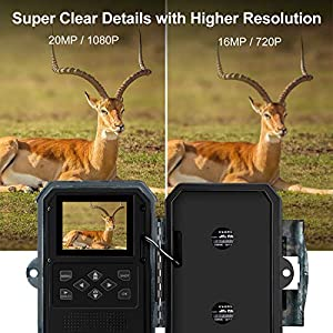 ENKEEO PH770 Wildlife Camera 1080P 20MP HD with SD Memory Card with Low Glow Infrared Night Vision Up to 65FT/20M, IP66 Waterproof Game Camera with 0.2s Trigger Time for Hunting Scouting