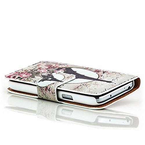 Saxonia Custodia Apple iPhone 6 Plus / 6S Plus Flip Case Cover Copertura con Portafoglio Wallet Alta Qualità Marrone-Bianco Motivo 1