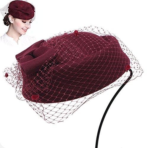 Baskenmütze Hut Pillbox Hut Hochzeit Hut Fascinator Hüte Winter für Frauen von ZYCC (Weinrot)