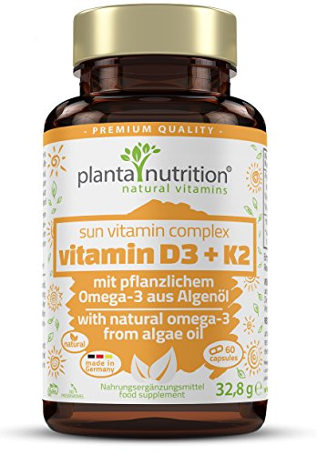 Vitamin D3 und K2 mit Omega-3 Fettsäuren aus pflanzlichem Algenöl und Leinsamen, vegetarisch, hochdosiert, 60 Kapseln