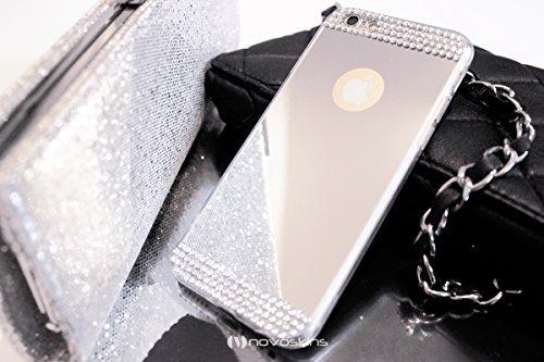 """iPhone 6s / 6 (4.7"""") Novoskins Silver Argento Mirror Specchio Reflector Luxe Cristallo Glam Case"""