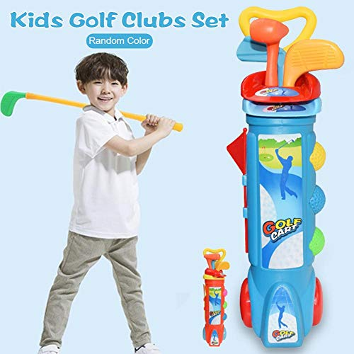 Yunhigh Kinder Golf Set, Kinder Kunststoff Golf Sport Spielzeug Set Kinder Golf Clubs Spiel Spielzeug Warenkorb Caddy Bälle Tasche Sommer Strand im Freien -