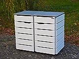 2er Mülltonnenbox 120 L, Holz / Edelstahl - Deckel, Deckend Geölt Lichtgrau