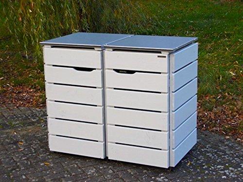 2er Mülltonnenbox 120 L, Holz / Edelstahl - Deckel, Douglasie Natur