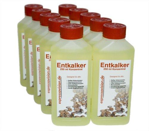 Entkalker Konzentrat (flüssig) für Kaffeevollautomaten und Haushaltsgeräte, 10 x 250ml (2.500 ml)