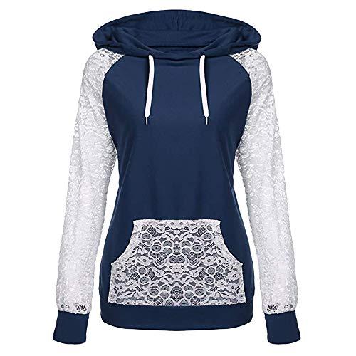 TIFIY Damen Kapuzenpullover,Freizeit Spitze Patchwork Winter Elegant Pullover Draussen Sweatshirt Urlaub Oberteil Langarm Top (Dunkelblau,EU-42/CN-L)