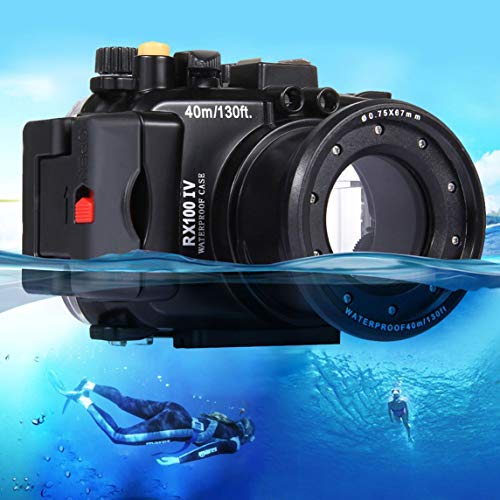 Footprintse PULUZ 40m Unterwasser Tauchen Fall Wasserdicht Kamera Gehäuse für Sony RX100 IV-Farbe: Schwarz