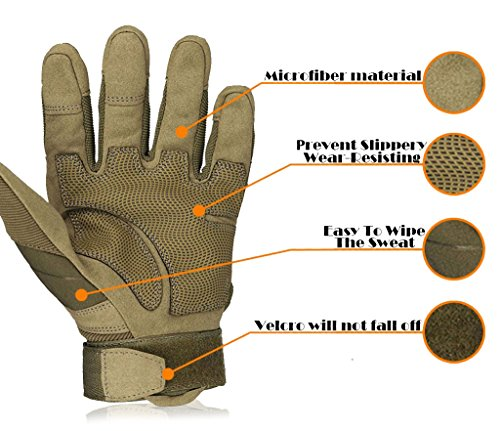 OMGAI Upgraded Men's Full Finger Tech Touch Gloves for Motorcycle Climbing hiking Outdoor Sports Smart Gloves, L
