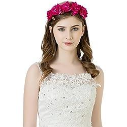 awaytr niña novia flores corona cinta pelo guirnalda de flores Diadema pieza para Boda partes Halloween cabeza. Rose rot Talla única