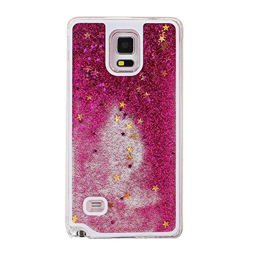 Hot Pink Hard Case (Schutzhülle für Samsung Galaxy Note 4, Nsstar® Hot Pink Rosa Hard Plastic Handyhülle Transparent Clear Cystal Case Glitter Flowing Bling Sterns und Sparkles Shinny Attraktiv Anti Scratch Hart Hülle Etui Schale für Samsung Galaxy Note 4)