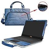 Asus UX370 UX370UA Housse,2 en 1 spécialement conçu Etui de protection en cuir PU + sac portable Sacoche pour 13.3' Asus Zenbook Flip S UX370 UX370UA Series ordinateur,Bleu